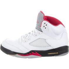 Pre-owned Nike Air Jordan 5 Retro Sneakers ($295) ❤ liked on Polyvore featuring men's fashion, men's shoes, men's sneakers, white, mens white sneakers, mens retro sneakers, mens white tie, mens ties and nike mens sneakers