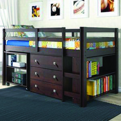 loft bunk beds with storage for kids DONCO Kids Low Study Loft Bed, Dark Cappuccino Loft Bed Desk, Bunk Bed With Desk, Loft Bunk Beds, Low Loft Beds, Bunk Beds With Stairs, Kids Bunk Beds, Trundle Beds, Design Furniture, Bedroom Furniture