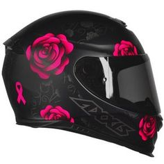 Capacete Axxis Eagle Flowers Preto Fosco/ Rosa Shared by Motorcycle Fairings - Motocc Pink Motorcycle Helmet, Womens Motorcycle Helmets, Black Helmet, Motorcycle Girls, Motorcycle Outfit, Biker Chick, Biker Girl, Cool Motorcycles, Motorcycles For Women