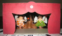 Tissue box puppet theater, with muffin cup finger puppets!