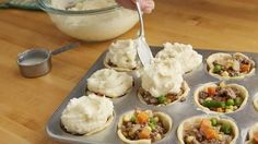 Mini shepherd's pies are sure to be a new family favorite recipe! Use purchased or leftover mashed potatoes for a quick and easy meal.