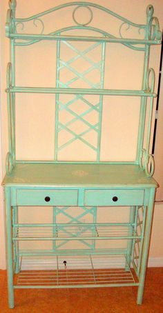 Bakers Rack, Painted Turquoise