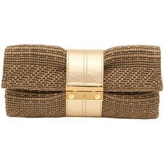 Joanna Maxham Nite Cap Khaki Raffia Clutch ($103) ❤ liked on Polyvore featuring bags, handbags, clutches, bolsas, purses, gold, woven handbags, anchor purse, man bag and khaki handbag