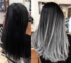 WEBSTA @ jackmartincolorist - Transformation Tuesday: Silver smoke balayage ombré style used the amazing new guy tang mydentity color line. Formulation: I pre lighten the hair with teasing balayage technique using big 9 cream lightner and 40 vol mixed wit Pelo Color Ceniza, Grey Balayage, Balayage Highlights, Grey Hair Lowlights, Balayage Hair Dark Black, Bayalage, Pelo Color Gris, Cabelo Ombre Hair, Grey Wig