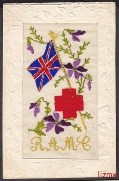 EMBROIDERED SILK WW1 RAMC RED CROSS & UNION JACK FLAG VIOLETS PRINTED CARD