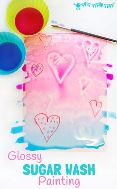 WAX RESIST SUGAR WASH PAINTING is a special and unusual painting activity for kids. It's colourful, glossy and finger licking good fun! Kids will love it! Plan to do for Cooking week at Summer Camp. Valentine Crafts For Kids, Crafts For Kids To Make, Valentine Day Crafts, Kids Crafts, Art For Kids, Kid Art, Kids Diy, Summer Crafts, Painting Activities
