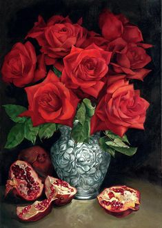 Back in production and coming back! - Red Roses and Pomegranates - Crystalline DIY Diamond Painting Wonderful Flowers, Beautiful Roses, Art Floral, Still Life Artists, Rose Art, Cross Paintings, Vintage Flowers, Diy Painting, Bunt