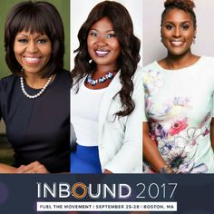 I've been waiting to share this news and no better time than now! In just a couple of months, I will be speaking at the Inbound 2017 conference along with the one and only, Michelle Obama and the incredible Issa Rae!!   Please get into all this melanin! Omg!