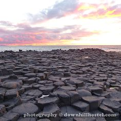 Sunset at the Giant's Causeway County Antrim Northern Ireland by downhillhostel.com http://www.downhillhostel.com/wp-content/uploads/2012/07/giants_causeway_hostel_sunset_photography_3-copy.jpg