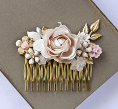 *** NEW ** NEW *** *** LIMITED EDITION ***    A romantic floral bridal hair comb in very pale pink, white, ivory and gold, made with real vintage