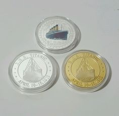 3 X RMS Titanic In Memory The Voyage Titanic Gold & Silver Plated Challenge Coins NOTE: Gold & Silver Clad Coin or Gold & Silver plated coins.