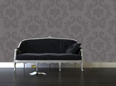 very sophisticated damask wall decals for accent wall behind crib