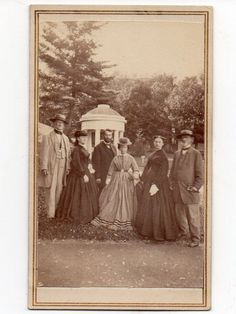 ANOTHER SUPERB OUTDOORS CDV 3 GENTS 3 LADIES CIVIL WAR ERA FASHIONS STYLES NYC