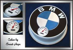 """BMW fan BD - It was our good friend's 65th BD. He has BMW motorbike and likes driving it. The cake is German chocolate cake covered with fondant. The needle on the speedometer (made out of gum paste) is showing his age. The BD """"boy†was thrilled like everybody else on the party."""