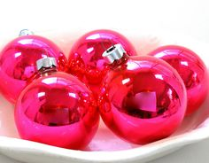 hot #pink glass #christmas #ornaments