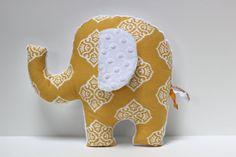 Yellow nursery ELEPHANT pillow  ikat and minky  Baby by LilKingdom, $24.00