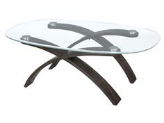 T2545 - Forum  The Forum Occasional Table Collection brings a distinctive contemporary look and urban feel with its unique intersecting arched bases and oval tempered glass tops. Featuring bases crafted of dark cherry veneers on bent plywood solids and tabletops featuring tempered glass and stainless steel accents.  The Forum Occasional Collection adds abstract art in a functional way to every room.   By Magnussen