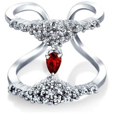 Bling Jewelry Bling Jewelry Pave Cz Simulated Red Garnet Glass Rhodium... ($17) ❤ liked on Polyvore featuring jewelry, rings, red, band rings, statement rings, pave band ring, red jewelry and cubic zirconia band rings