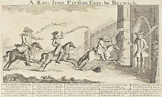 Race from Prestonpans to Berwick' (Sir John Cope, Brigadier-General Fowkes, Colonel Lascelles and Lord Mark Kerr) After 21 September 1745.  This humorous print shows Sir John Cope, Brigadier General Fawkes and Colonel Lascelles as they encounter Lord Mark Kerr. Bonnie Prince Charlie, Online Collections, Artist Names, Outlander, Scotland, September, Lord, Racing, Gallery