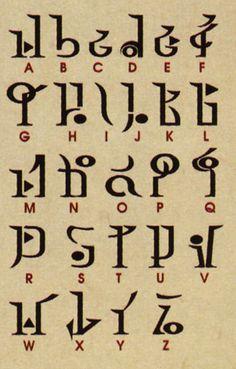 Alfabeto Hyrulian. Copado para quien quiera escribirse algo en idioma Zelda.