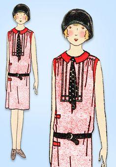 1920s Vintage Butterick Sewing Pattern 1981 Uncut Girls Flapper Dress Sz 10 27B #Butterick #FlapperDressPattern