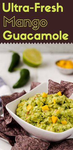 Beyond being rich, creamy, savory, tangy, and spicy, this ultra-fresh mango guacamole has a fantastic sweet twist from the ripe mango. Ready in 10 minutes. (vegan, gluten-free, paleo)
