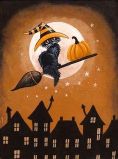 Black Cat Pumpkin Delivery - paint and art Retro Halloween, Halloween Kunst, Chat Halloween, Halloween Artwork, Halloween Magic, Halloween Painting, Holidays Halloween, Cute Halloween Pictures, Halloween 2019