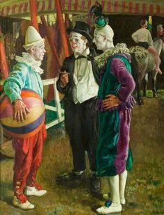 Laura Knight (English painter) 1877 - 1970 -The Three Clowns, ca. Circus Art, Circus Clown, Mime, Pierrot Clown, Circo Vintage, Le Clown, Send In The Clowns, Circus Performers, Clowning Around