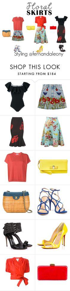 """Floral skirts"" by my-secret on Polyvore featuring Lisa Marie Fernandez, Gucci, Alexander McQueen, Blumarine, Valentino, Salvatore Ferragamo, Chanel, Schutz, Casadei e Christian Louboutin"