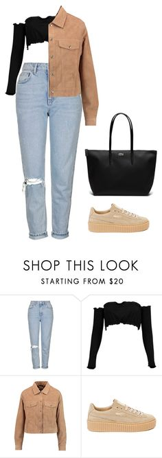"""""""Untitled #346"""" by rahilaomar ❤ liked on Polyvore featuring Topshop, Boohoo, 7 For All Mankind, Puma and Lacoste"""