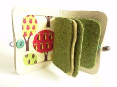 Needle Case in Cream Leather with Autumn Fruit by Beetlebirdhare
