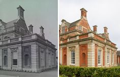 BEFORE & AFTER Exterior comparison of The Dining Room.  This extension by York Architect, Walter Brierley, was intended to be in period with the rest of the hall, but its detail is richer. Its design shows the influence of Sir Christopher Wren's design for the Orangery at Kensington Palace. www.acklamhall.co.uk