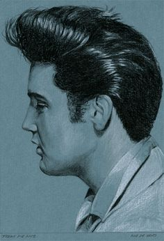 My weekly drawing for week 45 in the Elvis in Charcoal series II.  Treat me Nice, 2014. Charcoal and chalk on Colored Paper, 15 x 21 cm. Available. www.elvis-art.com