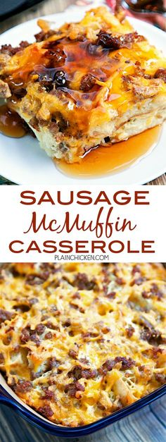 Sausage McMuffin Casserole - Chopped English muffins, sausage, cheese, eggs and milk. Can make a day ahead of time and bake for breakfast, lunch or dinner. All the flavors of a Sausage McMuffin from Mc Donald's in a yummy breakfast casserole. Breakfast Items, Breakfast Bake, Sausage Breakfast, Breakfast For Dinner, Breakfast Dishes, Breakfast Casserole, Best Breakfast, Breakfast Recipes, Breakfast Muffins