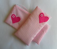 Reduced! Pink and white gingham glasses case, make up bag, heart motif £10.00