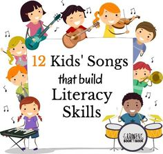 Fun song playlist to listen and sing to for building literacy skills. Titles include kids songs about the alphabet, rhyme and other phonemic awareness skills. (Growing Book by Book) Preschool Music, Preschool Literacy, Literacy Skills, Early Literacy, Literacy Activities, Kindergarten Songs, Educational Activities, Toddler Activities, Fun Songs