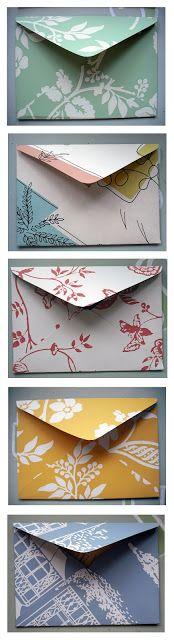 Make your own cute envelopes! http://emilysummers-designer.blogspot.co.uk/2012/06/pretty-handmade-envelopes.html