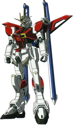 The ZGMF-X56S/β Sword Impulse Gundam is a Mobile Suit in the series Gundam SEED Destiny, and is analogous to the Earth Alliance's old GAT-X105+AQM/E-X02 Sword Strike. It is piloted by Shinn Asuka and later by Lunamaria Hawke. The ZGMF-X56S/β Sword Impulse is the ZGMF-X56S Impulse equipped with the β Sword Silhouette pack and is designed to serve as a close combat mobile suit. The Sword Silhouette pack adds two anti-ship laser swords, which can be combined into a larger doub...