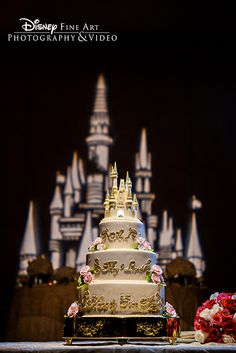 This happily ever after wedding cake added major wow factor to the dessert table