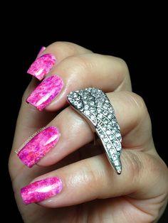piCture pOlish pink Saran Wrap nails feat. Fairy Floss, Electric Dream & Shy Violet   Fashion Polish