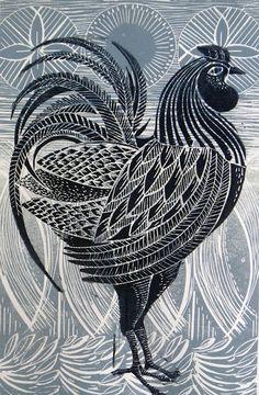 Mangle Prints: Cockerel Linocut Prints