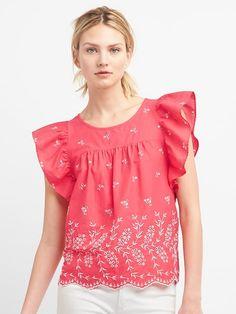 dc0343ef02b Gap Womens Eyelet Embroidery Flutter Sleeve Top Rose Shirt Blouses