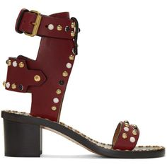 Isabel Marant Burgundy Studded Jeaeryn Sandals (2.860 BRL) ❤ liked on Polyvore featuring shoes, sandals, burgundy, burgundy shoes, round toe shoes, strap sandals, studded sandals and block heel shoes