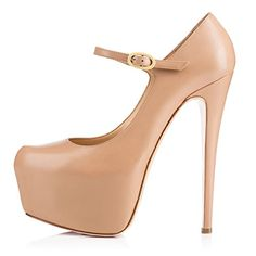 Onlymaker Womens High Heel Round Toe Platform ankle Strap Buckle Mary Jane Pumps Dress Shoes Nude US7 *** This is an Amazon Associate's Pin. Click the VISIT button to enter the Amazon website.