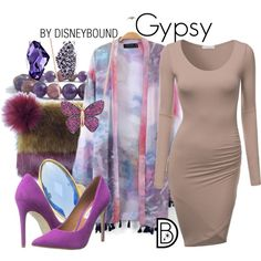 Gypsy (A Bug's Life) by leslieakay on Polyvore featuring moda, J.TOMSON, Steve Madden, disney and disneybound
