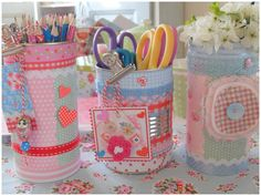 DIY, Beautiful and Ingenious Ideas Tin Can Crafts, Kids Crafts, Diy And Crafts, Paper Crafts, Formula Can Crafts, Diys, Diy Cans, Altered Tins, Craft Room Storage