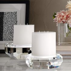 Faceted Crystal Pillar Candle Holder   Williams-Sonoma
