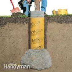 Dig and pour your deck footings so they extend below the frost line, so they won't move, or heave, as the ground freezes and thaws during seasonal changes. This article explains how to build solid footings that will stay put year-round. Deck Footings, Concrete Footings, Concrete Deck, Trex Decking, Under Deck Roofing, Wood Pergola Kits, Pergola Carport, Pergola Swing, Outdoor Pergola