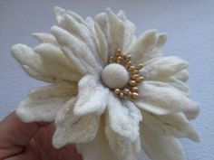White flower brooch, White Black Felted Flower Brooch, Hair Pins, Flower,Birthday Gift, Unique, Wool Felt Jewelry, handmade felt brooch pin by danyfelt on Etsy