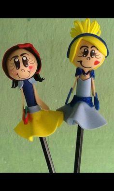 Ponteiras para lápis Princesas Branca de Neve e Cinderela.